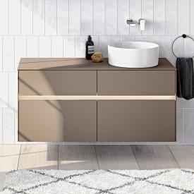Villeroy & Boch Collaro LED-Waschtischunterschrank mit 4 Auszügen für 1 Aufsatzwaschtisch Front truffle grey / Korpus truffle grey, Abdeckplatte truffle grey, Griffmulde truffle grey