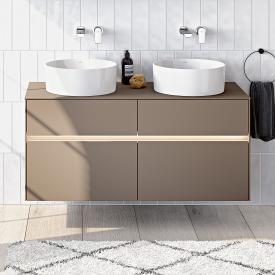 Villeroy & Boch Collaro LED-Waschtischunterschrank mit 4 Auszügen für 2 Aufsatzwaschtische Front truffle grey / Korpus truffle grey, Abdeckplatte truffle grey, Griffmulde truffle grey