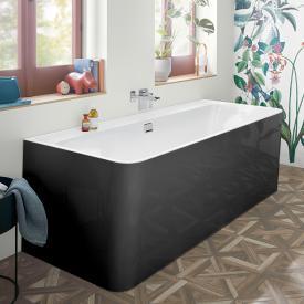 Villeroy & Boch Collaro Vorwand-Badewanne weiß/coal black, Ab-/Überlaufgarnitur chrom