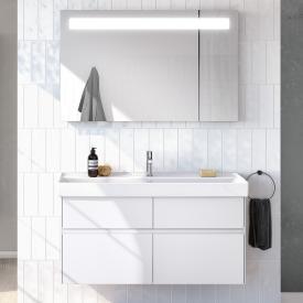 Villeroy & Boch Collaro Waschtisch mit Waschtischunterschrank und More to See 14 Spiegel Front weiß matt/verspiegelt / Korpus weiß matt/aluminium matt, Griffmulde weiß matt