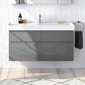 Villeroy & Boch Collaro Waschtisch mit Waschtischunterschrank mit 4 Auszügen Front glossy grey / Korpus glossy grey, Griffmulde anthrazit matt