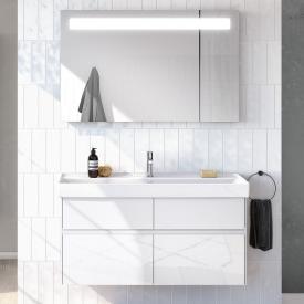 Villeroy & Boch Collaro Waschtisch mit Waschtischunterschrank und More to See 14 Spiegel Front glossy white/verspiegelt / Korpus glossy white/aluminium, Griffmulde weiß matt