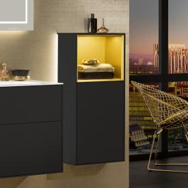 Villeroy & Boch Finion LED-Seitenschrank mit 1 Tür, Regalelement oben Front black matt / Korpus black matt/gold matt