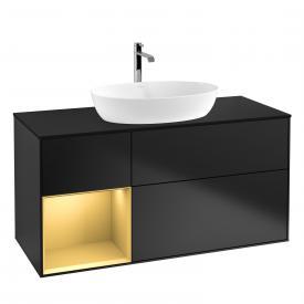 Villeroy & Boch Finion LED-Waschtischunterschrank für Aufsatzwaschtisch mit 3 Auszügen, Regalelement links Front black matt / Korpus black matt/gold matt, Abdeckplatte black matt