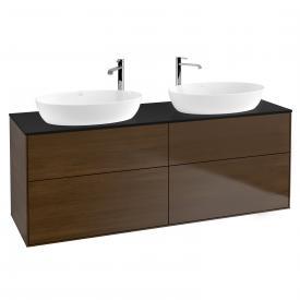 Villeroy & Boch Finion Waschtischunterschrank für 2 Aufsatzwaschtische mit 4 Auszügen Front walnut / Korpus walnut, Abdeckplatte black matt