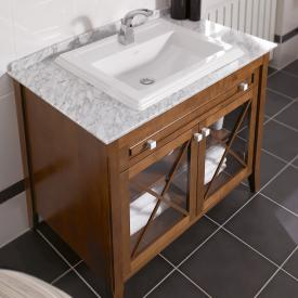 Villeroy & Boch Hommage Waschtischunterschrank mit Waschtisch, 2 Türen und 1 Auszug Korpus Nussbaum, Front Nussbaum, weiß mit CeramicPlus, Griff weiß