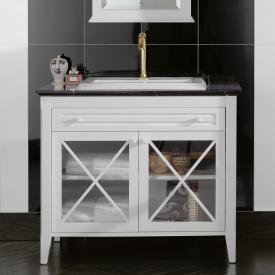 Villeroy & Boch Hommage Waschtischunterschrank mit Waschtisch, 2 Türen und 1 Auszug Korpus weiß matt, Front weiß matt, weiß mit CeramicPlus, Griff weiß