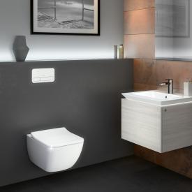 Villeroy & Boch Legato Combi-Pack Wand-Tiefspül-WC, offener Spülrand, mit WC-Sitz weiß, mit CeramicPlus