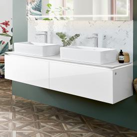 Villeroy & Boch Legato LED-Waschtischunterschrank für 2 Aufsatzwaschtische mit 2 Auszügen Front glossy white / Korpus glossy white
