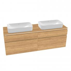 Villeroy & Boch Legato LED-Waschtischunterschrank für 2 Aufsatzwaschtische mit 4 Auszügen Front kansas oak / Korpus kansas oak
