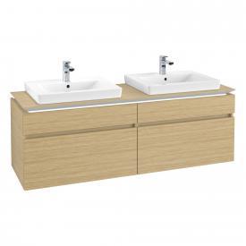 Villeroy & Boch Legato LED-Waschtischunterschrank für 2 Einbauwaschtische mit 4 Auszügen Front nordic oak / Korpus nordic oak