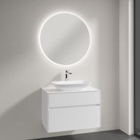 Villeroy & Boch Loop & Friends Aufsatzwaschtisch mit Embrace Waschtischunterschrank und More to See Lite Spiegel Front glossy white/verspiegelt / Korpus glossy white, Griffmulde weiß matt, WT mit Überlauf