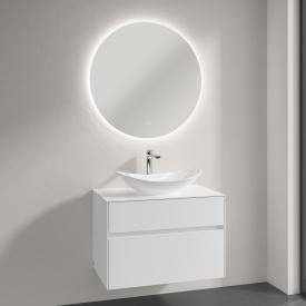 Villeroy & Boch My Nature Aufsatzwaschtisch mit Embrace Waschtischunterschrank und More to See Lite Spiegel Front glossy white/verspiegelt / Korpus glossy white, Griffmulde weiß matt