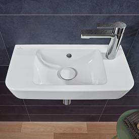 Villeroy & Boch O.novo Compact Handwaschbecken weiß mit CeramicPlus, mit 1 Hahnloch rechts, mit Überlauf