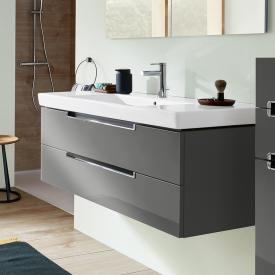 Villeroy & Boch Subway 2.0 Waschtisch mit Waschtischunterschrank mit 2 Auszügen Front glossy grey / Korpus glossy grey