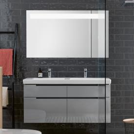 Villeroy & Boch Subway 2.0 Waschtisch mit Waschtischunterschrank und More to See 14 Spiegel Front glossy grey/verspiegelt / Korpus glossy grey/aluminium matt, Griff silber matt