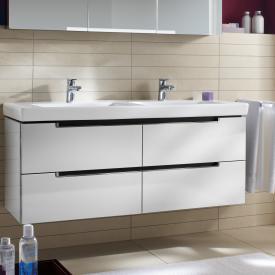 Villeroy & Boch Subway 2.0 Waschtischunterschrank XL für Doppelwaschtisch mit 4 Auszügen Front glossy white / Korpus glossy white, Griff chrom