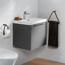 Villeroy & Boch Subway 3.0 Handwaschbecken mit LED-Waschtischunterschrank mit 1 Auszug Front graphite / Korpus graphite, Griffleiste aluminium glanz, WT weiß, mit Überlauf