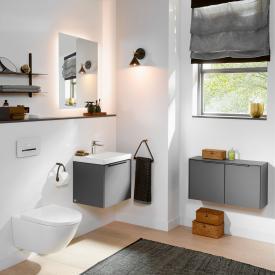 Villeroy & Boch Subway 3.0 Handwaschbecken mit Waschtischunterschrank und More to See Lite LED-Spiegel WT weiß