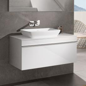 Villeroy & Boch Venticello Aufsatzwaschtisch mit Waschtischunterschrank mit 1 Auszug Front glossy white / Korpus glossy white, Griff chrom, WT weiß