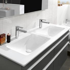 Villeroy & Boch Venticello Doppel-Möbelwaschtisch weiß mit CeramicPlus, mit 2 Hahnlöchern, ohne Überlauf