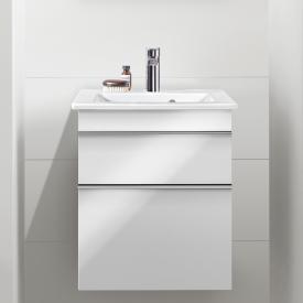 Villeroy & Boch Venticello Handwaschbecken mit Waschtischunterschrank mit 2 Auszügen Front glossy white / Korpus glossy white, Griff chrom, WT weiß