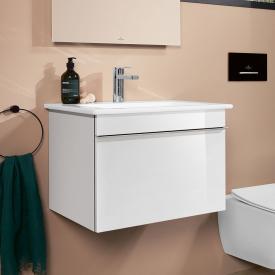 Villeroy & Boch Venticello Waschtisch mit Waschtischunterschrank mit 1 Auszug Front glossy white / Korpus glossy white, weiß, mit CeramicPlus, mit 1 Hahnloch, mit Überlauf