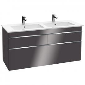 Villeroy & Boch Venticello Doppel-Waschtischunterschrank XXL mit 4 Auszügen Front glossy grey / Korpus glossy grey, Griff chrom