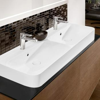 Villeroy & Boch Finion Doppelwaschtisch stone white, mit CeramicPlus, ungeschliffen, mit Überlauf