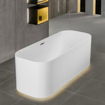 Villeroy & Boch Finion freistehende Badewanne mit Emotion-Funktion weiß, chrom, mit integriertem Wassereinlauf