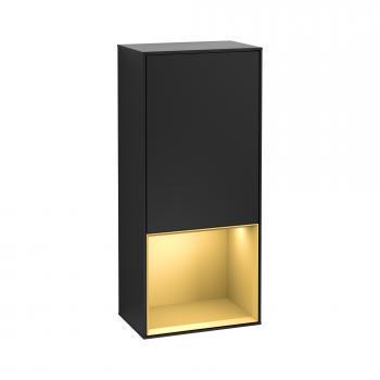 Villeroy & Boch Finion LED-Seitenschrank mit 1 Tür, Regalelement unten Front black matt / Korpus black matt/gold matt