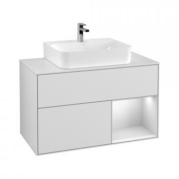 Villeroy & Boch Finion LED-Waschtischunterschrank für Aufsatzwaschtisch mit 2 Auszüge, Regalelement rechts Front glossy white / Korpus glossy white, Abdeckplatte white matt