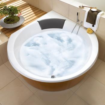 Villeroy & Boch Luxxus Eck Badewanne mit Whirlpoolsystem, Technikposition 2 weiß mit AirPool Entry