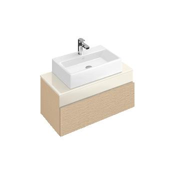 Villeroy & Boch Memento Waschtischunterschrank mit 1 Auszug und 1 Schublade Front bright oak/creme / Korpus bright oak, Glasplatte creme