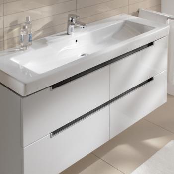 Villeroy & Boch Subway 2.0 Waschtisch mit Waschtischunterschrank mit 4 Auszügen weiß, mit CeramicPlus, mit 1 Hahnloch, mit Überlauf