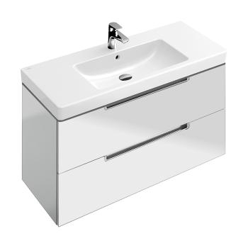 Villeroy & Boch Subway 2.0 Waschtischunterschrank XL mit 2 Auszügen Front glossy white / Korpus glossy white, Griff silber matt