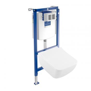 Villeroy & Boch Venticello & ViConnect NEU Komplett-Set Wand-Tiefspül-WC, offener Spülrand weiß, mit CeramicPlus