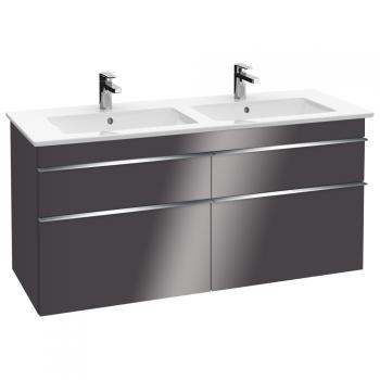 Villeroy & Boch Venticello Waschtischunterschrank XXL für Doppelwaschtisch mit 4 Auszügen Front glossy grey / Korpus glossy grey, Griff chrom