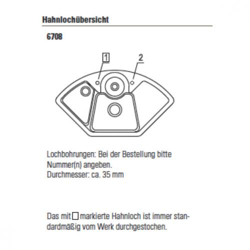 Villeroy & Boch Solo Eck Spüle mit Excenterbetätigung B: 107,5 T: 60 cm ebony/Position Lochbohrungen 1 und 2