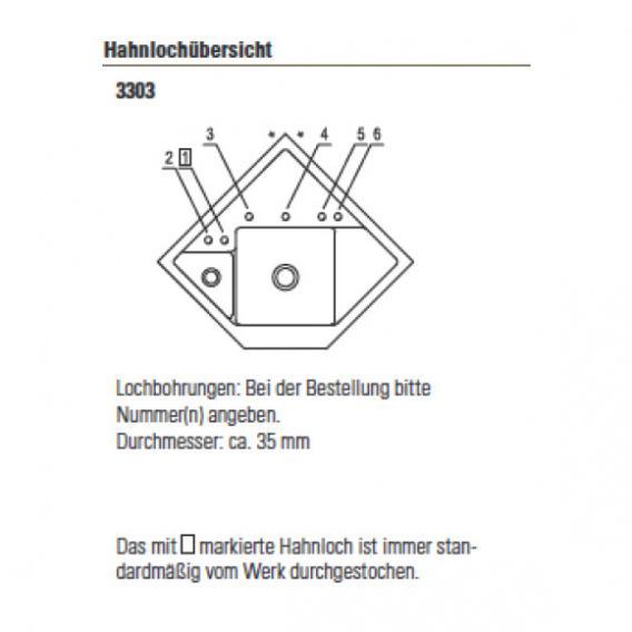 Villeroy & Boch Monumentum Spüle fossil/Position Lochbohrungen 2 und 1