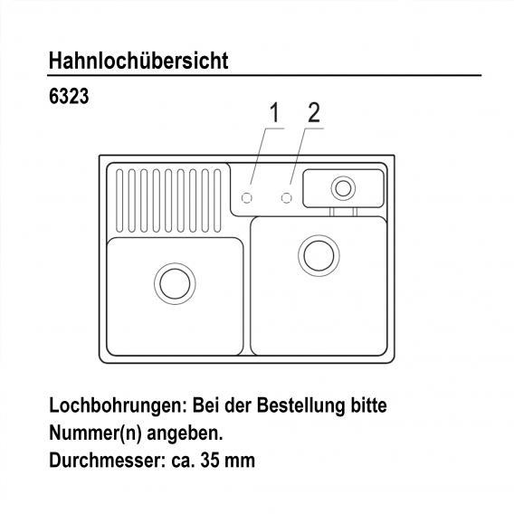 Villeroy & Boch Spülstein weiß alpin hochglanz/Position Lochbohrung 1