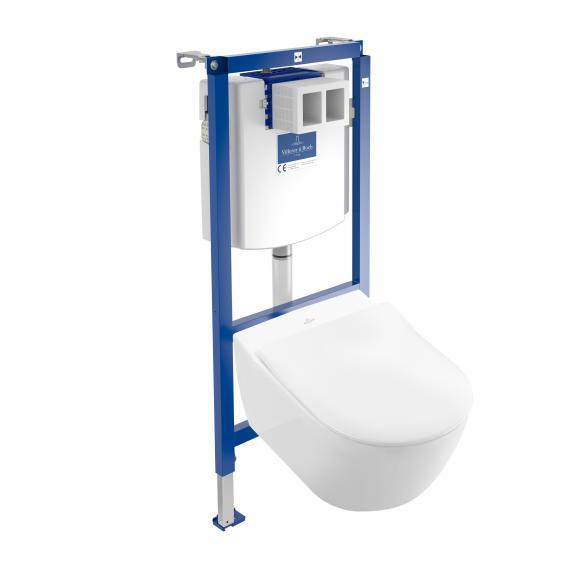Villeroy & Boch Subway 2.0 & ViConnect NEU Komplett-Set Wand-Tiefspül-WC, mit WC-Sitz ohne Spülrand, weiß, mit CeramicPlus