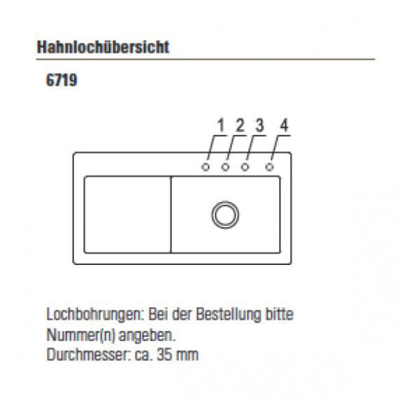 Villeroy & Boch Subway 60 XL Spüle ebony/Position Lochbohrungen 1 und 2