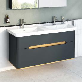 VitrA Sento Doppelwaschtisch mit Waschtischunterschrank mit 2 Auszügen Front anthrazit matt / Korpus anthrazit matt/eiche