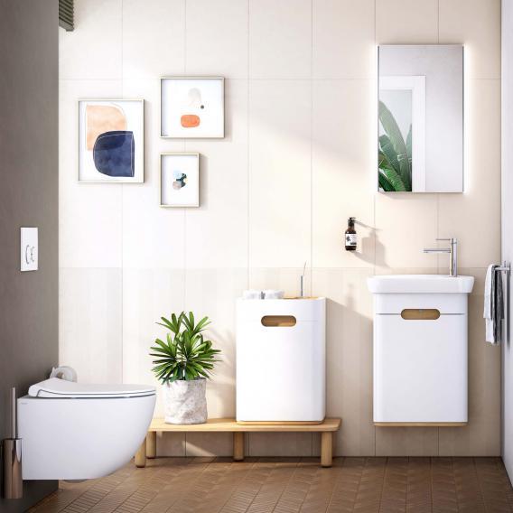 VitrA Sento Handwaschbecken mit Waschtischunterschrank mit 1 Tür Front weiß matt / Korpus weiß matt/eiche