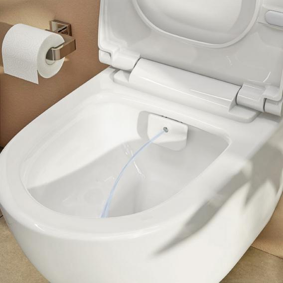 VitrA Sento Wand-Tiefspül-WC mit Bidetfunktion ohne Spülrand, mit Stand-Spülkasten mit integrierter Armatur, Spülkasten in schwarz