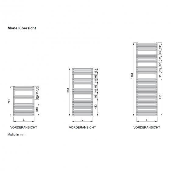 Zehnder forma Badheizkörper für Elektrobetrieb weiss 496 mm, E-Patrone 500 Watt